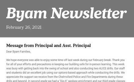 Chelmsford Public Schools Byam School Newsletter 2-27-21